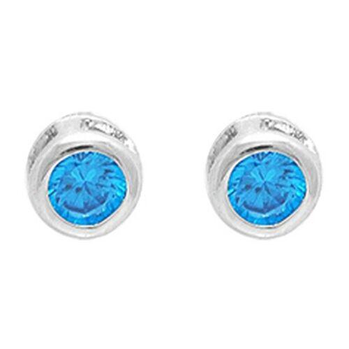 NEUVES BOUCLES d/'oreilles Puce en Argent 925 rhodié et Oxyde Zirconium bleu