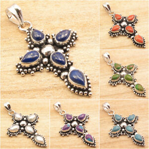925-Silver-Plated-CROSS-Pendant-LAPIS-LAZULI-WHITE-PEARL-amp-Other-Gems-Choice