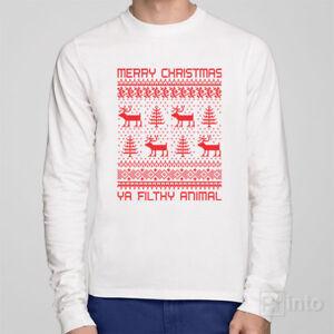 02fa377079a Long sleeve Christmas T-shirt - MERRY CHRISTMAS YA FILTHY ANIMAL ...