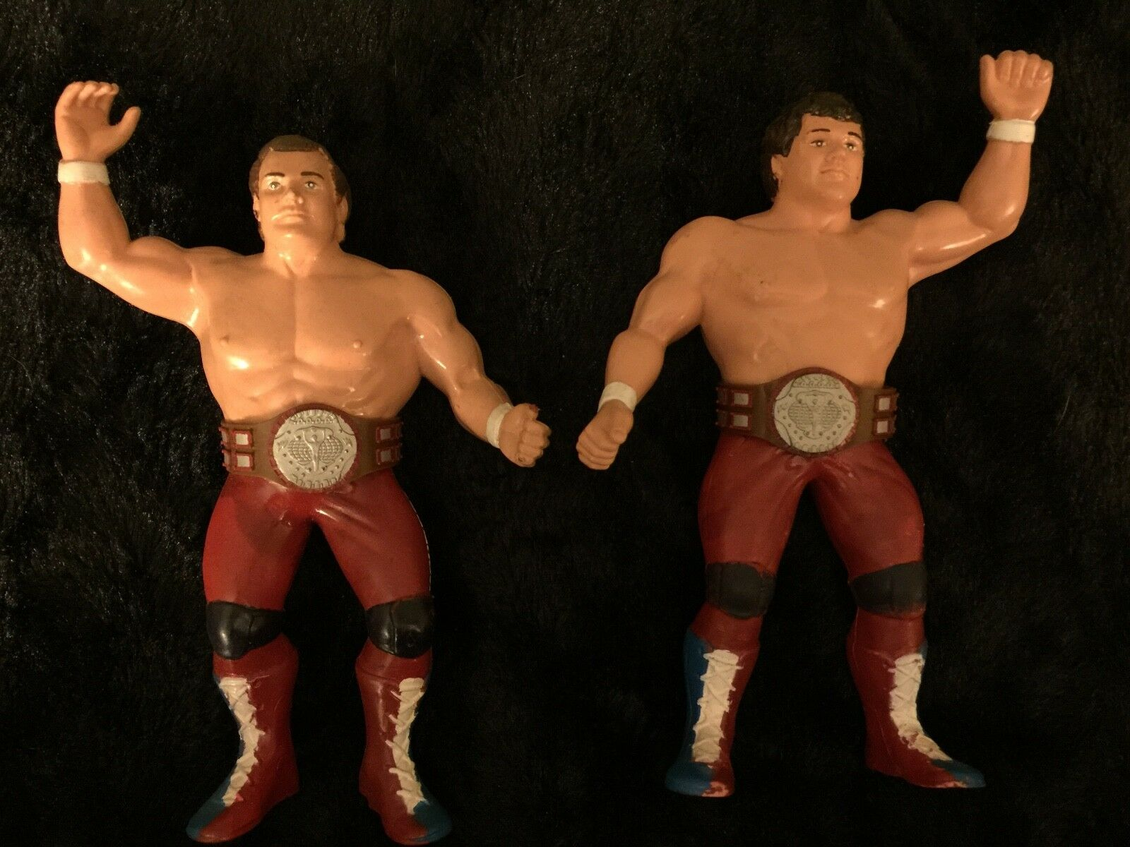 WWF British Bulldogs Tag Team With Champion Belts LJN Wrestling Figures (80's)