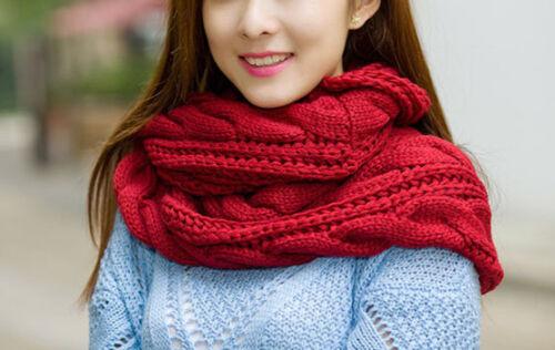 Winter Wrap Gifts Knitted Neck Warmers Warm Crochet Shawls Women Wool Scarves