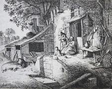 ADRIAN VON OSTADE DIE SPINNERIN RADIERUNG SIGNIERT DATIERT BÜTTEN ORIGINAL 1652