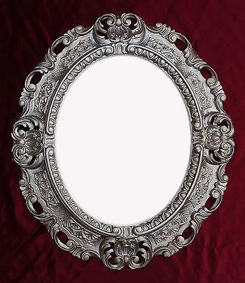 Espejos Espejo De Pared Plata Envejecida Ovalado 45 X 38cm Barroca Antiguo Reproducción Muebles Antiguos Y Decoración