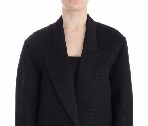 NEW $1100 KAALE SUKTAE Blazer Black Coat Trench Jacket Long Draped IT 38 //US 4