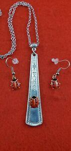 Ladybug-Silverware-Spoon-Handle-Bail-Pendant-Necklace-Flatware-Fashion-Jewelry