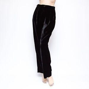 Giorgio Armani Le Collezioni 10x31 It44 Pantalones De Terciopelo Negro 1675 Ebay