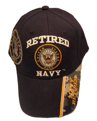 Navy Blue 223-NBL Licensed Retired Navy Emblem Shadow Cap