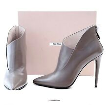 MIU MIU By Miuccia Prada Leather Pointed-Toe Ankle Booties EU 39 US 9