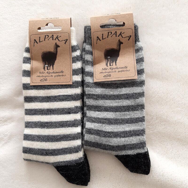 2 Paar Damen Alpaka Socken 65% Schafwolle 35% Alpakawolle Ringel Fb3 / 35 - 42