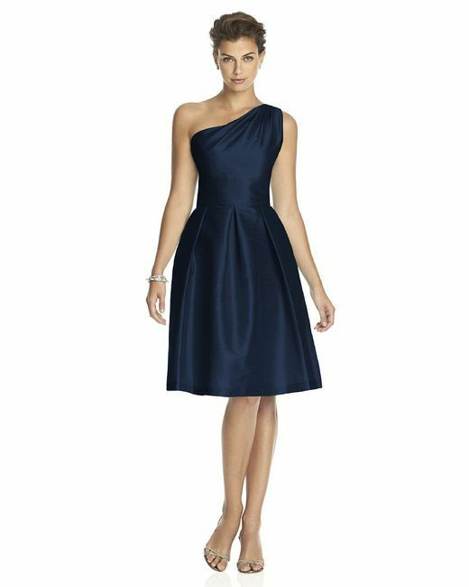 Alfred Sung S 4 navy Blue One Shoulder Formal Party dress pockets Flare Classic