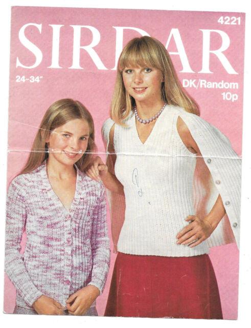 Vintage Sirdar pattern 4221 for girl's cardigan/jumper in DK; 61-86cms;24-34ins