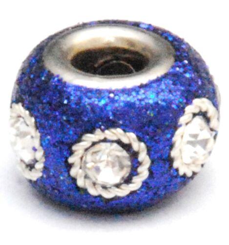 LARGE HOLE 2 BLUE GLITTER KASHMIRI CHARM BEADS 15MM