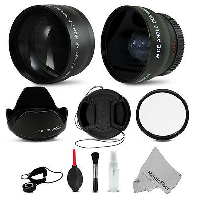 52MM Telephoto & Wide Angle + Accessory Kit for NIKON D5200 D5100 D3200 D3100