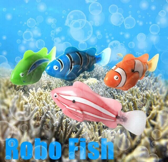 4x ROBO FISH CLOWN FISH KIDS GADGET WATER ACTIVATED REAL LIFE LIKE TOYS