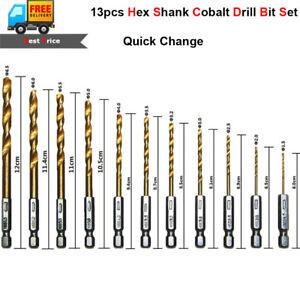 13pc Hex Shank Quick Change Cobalt Drill Bit Set Multi Bits