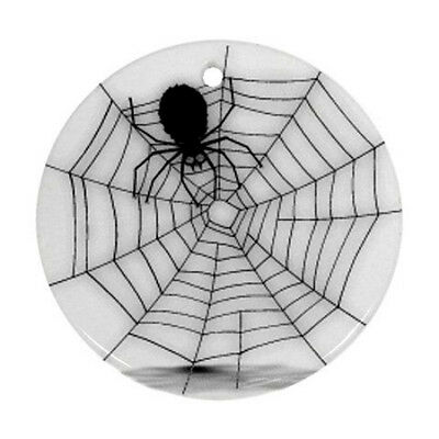 Halloween Spider Web Round Porcelain Christmas Ornament