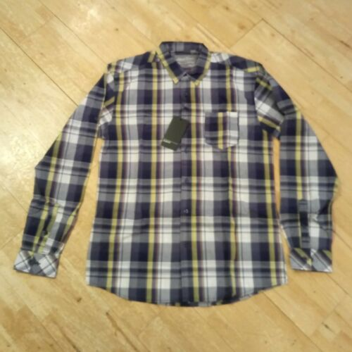 Selected Homme Slim Fit White//Blue//Yellow Checked Shirt Size Large