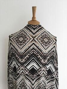 Stretch-Beige-Geometric-Diamond-Ethnic-Inspired-Print-Dressmaking-Jersey-Fabric