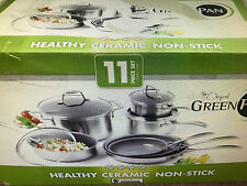 New Greenpan 11 pc Clad Cookware Set Tri-ply Stainless Steel + Thermolon Ceramic