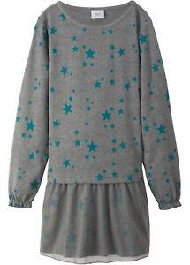 Mädchen Jersey Kleid 170 grau meliert petrol Sterne Print ...