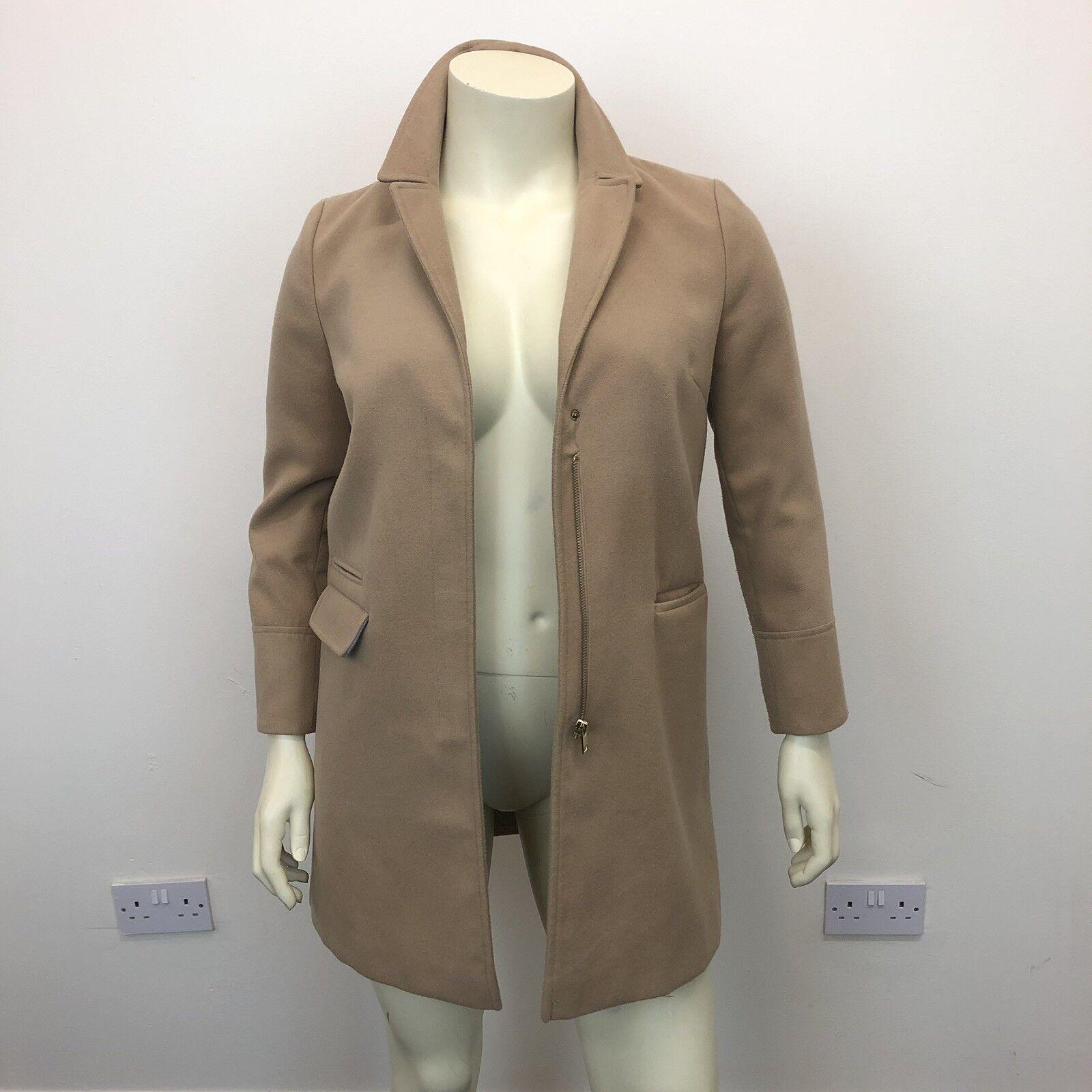 Topshop Ladies Beige Double Breasted Smart Long Wool Winter Warm Coat UK Size 12