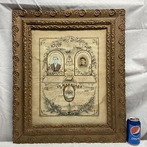 VTG 1889 Victorian Antique Ornate Gold Guild Wood Chalk Frame MARRIAGE Portrait