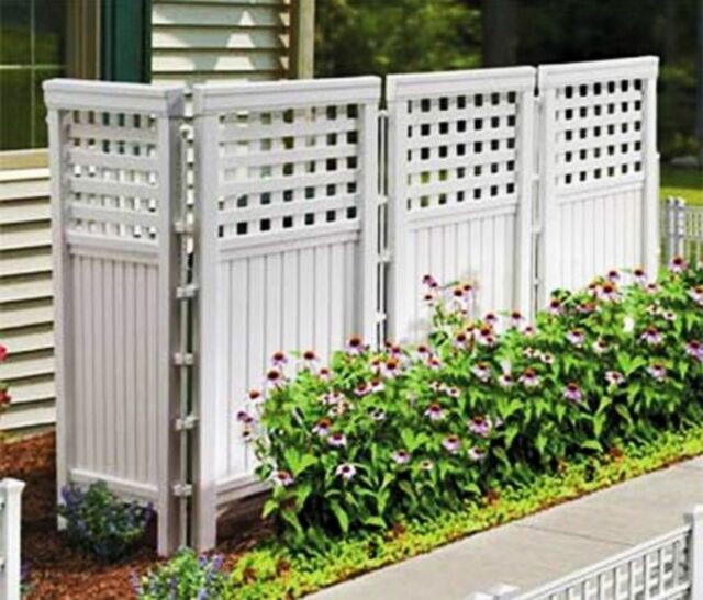 Ordinaire White 4 Panels Outdoor Privacy Screen Fence Steel Enclosure Divider Yard  Patio