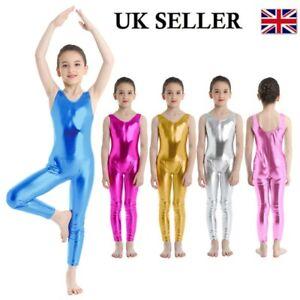 UK Girls Gymnastics Leotard Ballet Wear Shiny Sport Sleeveless Bodysuit Jumpsuit