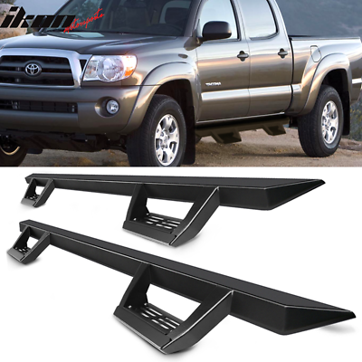 Fits 07-19 Toyota Tacoma Double Cab IKON V1 Style Steel Running Boards Silver
