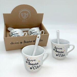 Bomboniere Matrimonio Tazzine.Bomboniera Matrimonio Set 2 Tazze Tazzine Caffe Con Scatola H 5 5