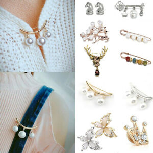 Sweater Cardigan Clip Chain Pearl Fixed Strap Charm Pin Brooch Silver Jewelry UK
