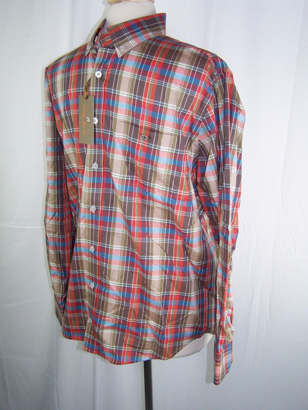 Southern Point Button Hadley Shirt orange bluee White Stripe Men's S Small NWT