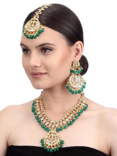 Indian Bridal Green Pearl Kundan Aliya Necklace Earring Maangtika Women Jewellry