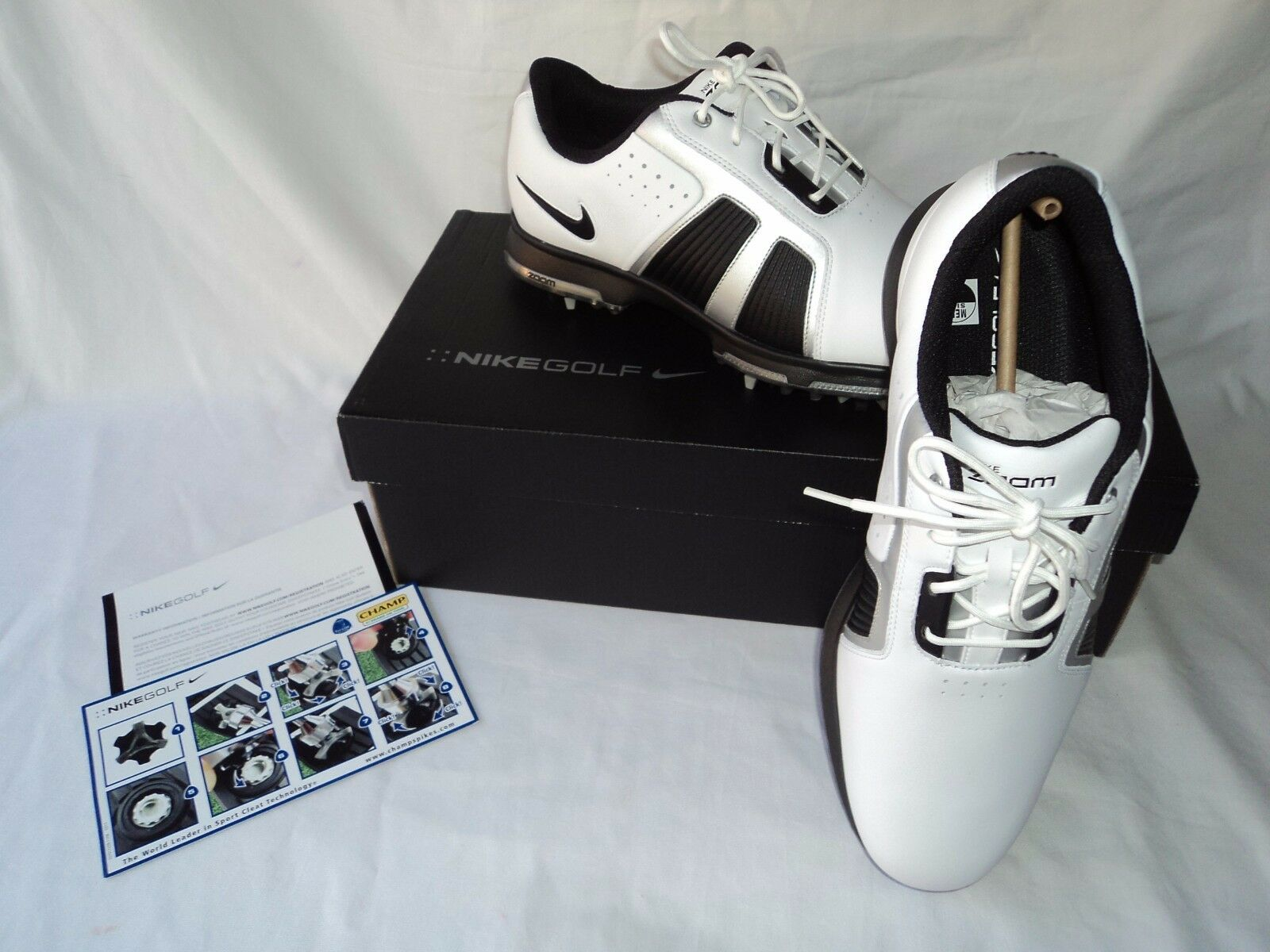 NIKE ZOOM TROPHY 483246 101 WHITE Men's LEATHER WATERPROOF GOLF SHOES Men's WHITE Size:9 6aa5e6