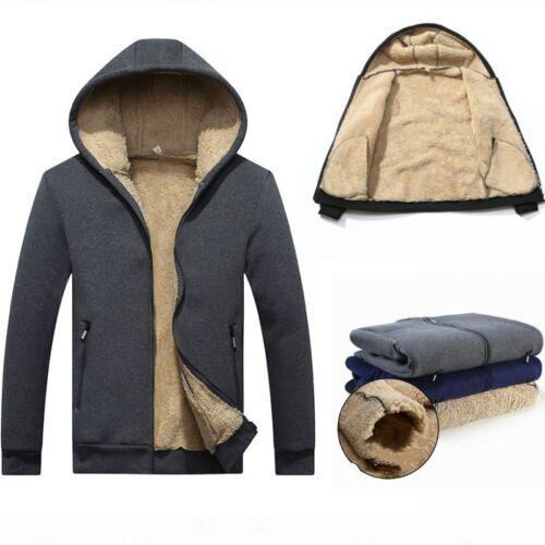 Men Sherpa Lined Fleece Hoodie Winter Athletic Hooded Sweater Warm Top Soft Coat