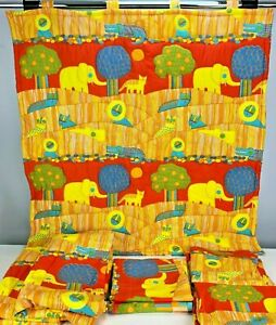 Details About Vtg Waverly Safari Fabric Material Nursery Childs Bedroom Curtains Orange Bold