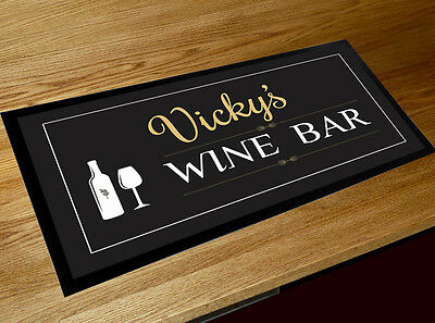 Personalised Any Name Wine O/'Clock bar runner counter mat Pubs  /& Cocktail Bars