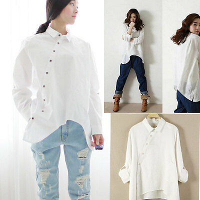 Spring wears Long sleeve Linen Irregular  women white blouses women tops t-shirt
