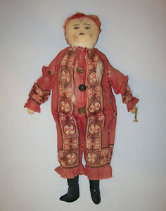 Old-Vtg-Ca-1920s-Hand-Made-Folk-Art-Cloth-Clown-Doll-16-034-Tall-Embroidered-Face