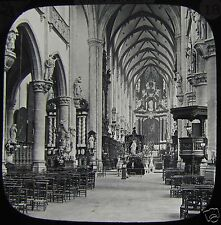 Glass Magic Lantern Slide ANTWERP CHURCH OF ST PAUL THE NAVE C1900 BELGIUM PHOTO