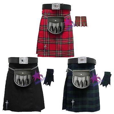 Cc Scozzese Uomo Kilt Tradizionale Vestito Highland Gonna / Kilt Pin / Sporran/