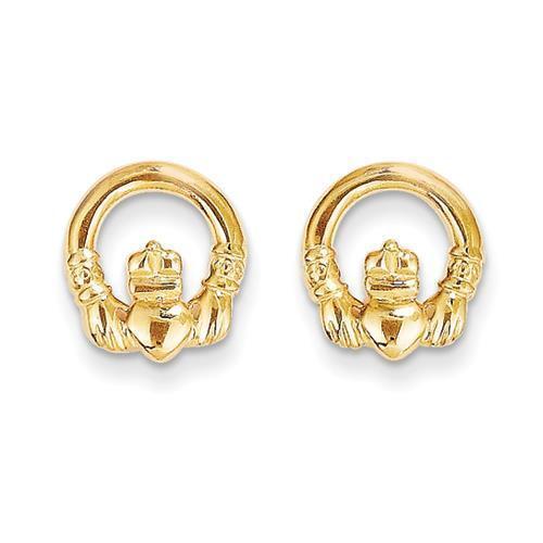 Madi K 14k Yellow gold Polished Irish Claddagh Post Stud Earrings