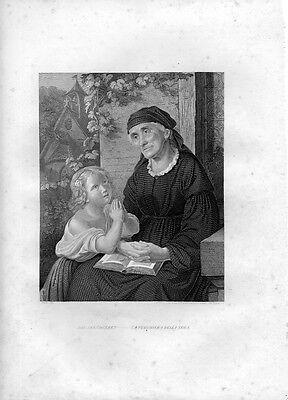 Stampa antica LA PREGHIERA DELLA SERA con la nonna 1852 Old Print Engraving