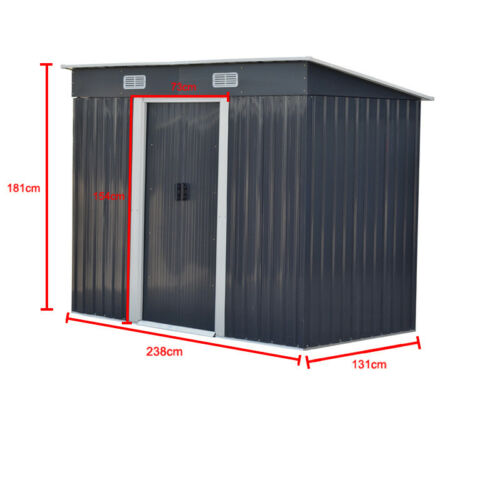 Metal Garden Shed 6X4 8X4 8X6 8X8 10X8FT Outdoor Storage House with FREE Base UK