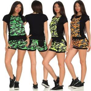 Damen-2-Teiler-Hotpants-amp-Top-Camouflage-Jogging-Anzug-Sportanzug-Trainingsanzug