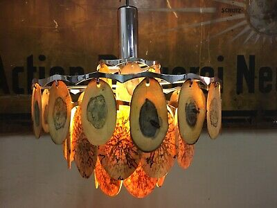 Lüster Lampe Kronleuchter Upcycling Lichtdurchlässiges Holz 70er Chrom Design Eine GroßE Auswahl An Farben Und Designs