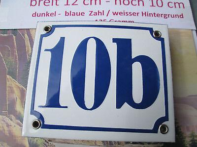 Aggressiv Emaille-hausnummer Nr.10b Dunkel-blaue Zahl Auf Weißem Hintergrund 12 Cm X 10 Cm