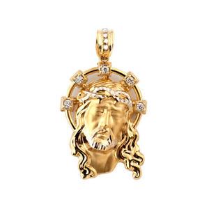 Mens Womens 10K Yellow Gold Jesus Head Religious Pendant Charm 7.80 ... c2cea733a1