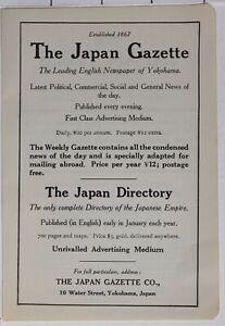 1914-Japon-Japonais-Tourist-Annonce-Gazette-Yokohama-Japon-Annuaire