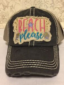 3c5bd65d Image is loading Beach-Please-Embroidered-Distressed-Men-Women-Baseball-Cap-